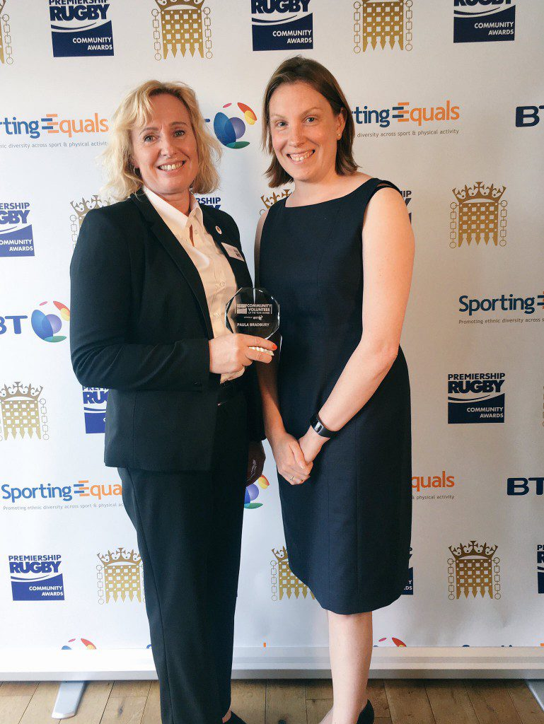 Paula Bradbury – Premiership Rugby Parliamentary Community Volunteer of the Year